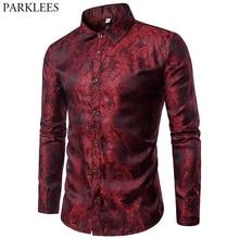 Wino czerwone Paisley Floral brązujący jedwabna koszula mężczyzn marki Slim Fit z długim rękawem cienka sukienka koszule męskie Party Event koszula społecznej mężczyzna