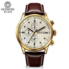 OCHSTIN Hommes Montre Top Marque De Luxe Étanche Chronographe Sport Montre Homme D'affaires En Cuir Quartz Montre-Bracelet Hommes Horloge hodinky