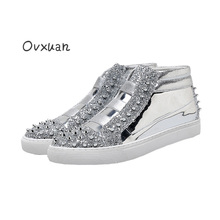 Ovxuan Handmade Silver Patent Leather and Shining Sequins Men Loafers Silver Rivet Men Flats Fashion Prom and Party Casual Shoes
