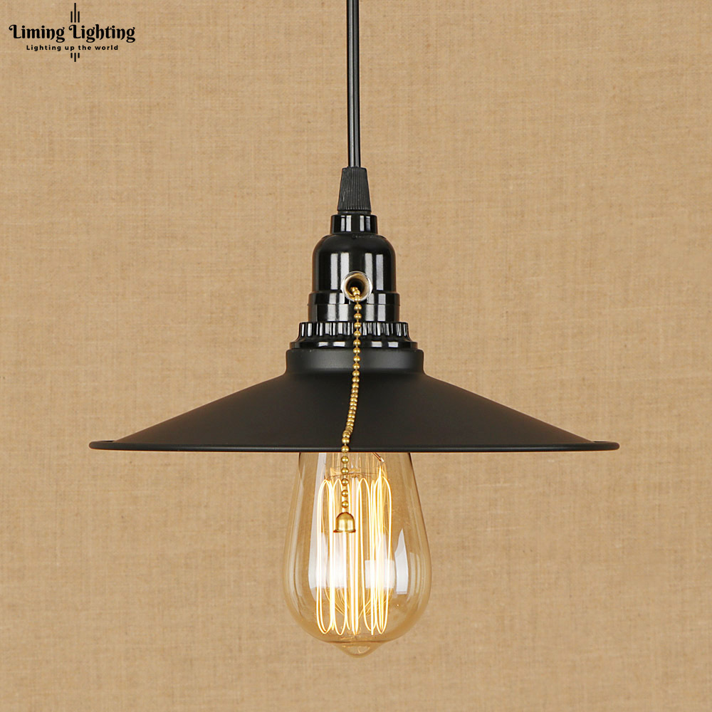 Loft iron shade modern Pendant Lamp Adjustable Cord E27 LED Hanging Lights retro Zipper Switch For Living Room bedroom new retro iron and glass pendant lights loft vintage lamp restaurant bedroom living room e27 pendant lamp hanging light fixture