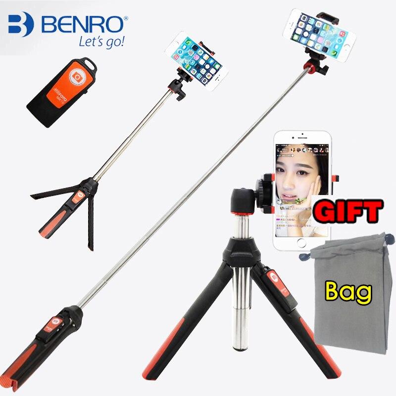 BENRO De Poche mini Trépied pour Téléphone 3 en 1 Auto-Portrait Monopode Selfie Bâton avec Bluetooth Déclencheur À Distance pour smartphone