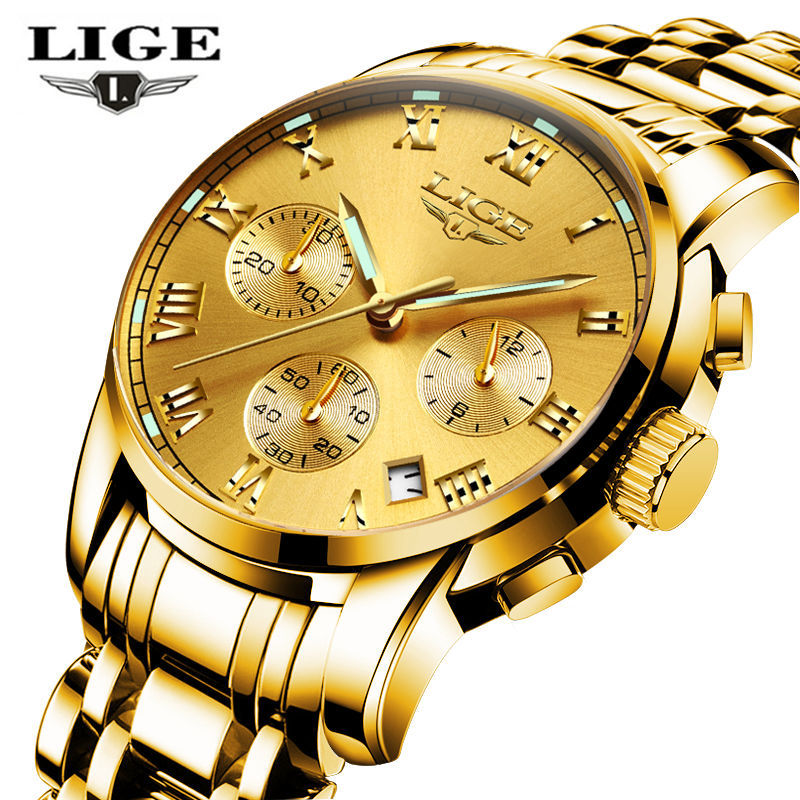 LIGE herrklockor Top Brand Luxury Business Quartz Gold Watch Men Full - Herrklockor