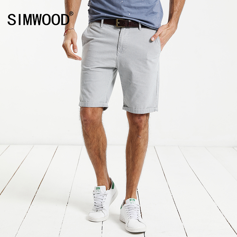 SIMWOOD 2017 Summer New Casual Shorts Men Cotton Plaid Knee Length Trouser Slim Fit Brand Clothing XD017001
