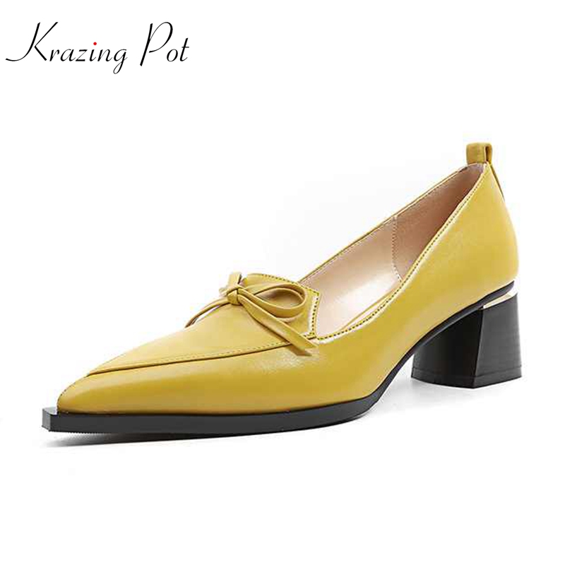 Krazing pot 2018 mature women fashion cow leather pointed toe med heels solid butterfly-knot oxford office lady pumps shoes L25 2017 hot sale fashion style classic women pumps leisure round toe slip on med heels mature office lady easy walking hot shoes