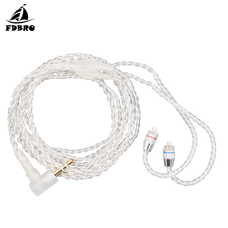 FDBRO Silver Plated Earphone Upgrade <font><b>Cable</b></font> 3.5 mm Audio <font><b>Cable</b></font> 4 Core <font><b>0.75mm</b></font> <font><b>2</b></font> <font><b>PIN</b></font> Original Earphone <font><b>Cable</b></font> DIY for C10/C16 image