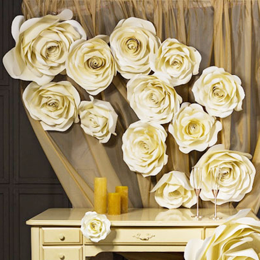 Compare prices on paper flower big roses online shoppingbuy low 15pcs ivory rose giant paper flower setlarge flower big paper flower for wedding party dhlflorist Image collections