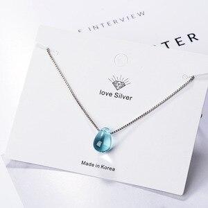 Ожерелье с кулоном из стерлингового серебра 925 пробы с синими кристаллами, ожерелье без косточек с каплями, Женское Ожерелье Бижутерия ...