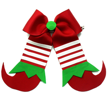 4pcs new 7 inch Christmas Cheer Bows Grosgrain Ponytail Hair For Kids Girls Accessories