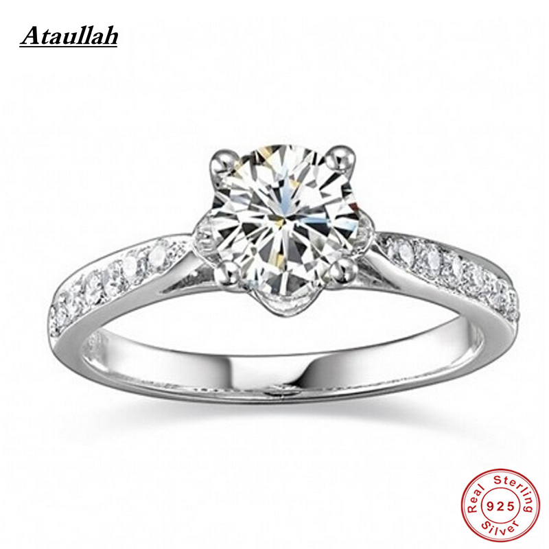 Ataullah Luxury 1 Carat 925 Sterling Silver SONA Ring Engagement Rings For Women Girl Wedding Rings RWD033