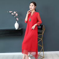National Wind Improve Cheongsam Female Long Dress The 2018 New Summer Silk Exquisite Embroidered V neck Loose Red Lady Dresses