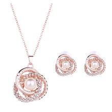 gold color imitate pearl and rhinestone necklaces pendand earrings for women fashion jewelry sets wedding necklace sets gift