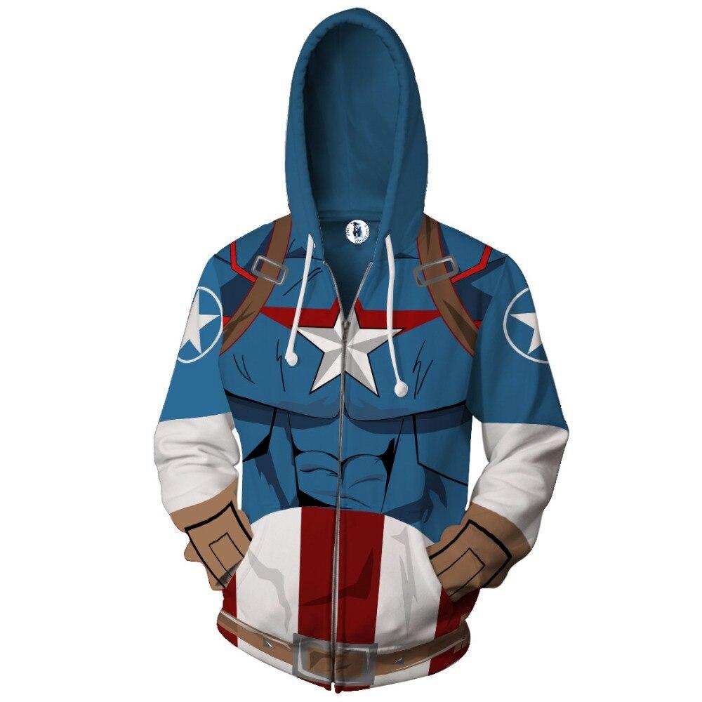 Captain America Hoodies Sweatshirts Men 2018 3D Print Quality Casual Fashion Tracksuit hooded Jacket clothing