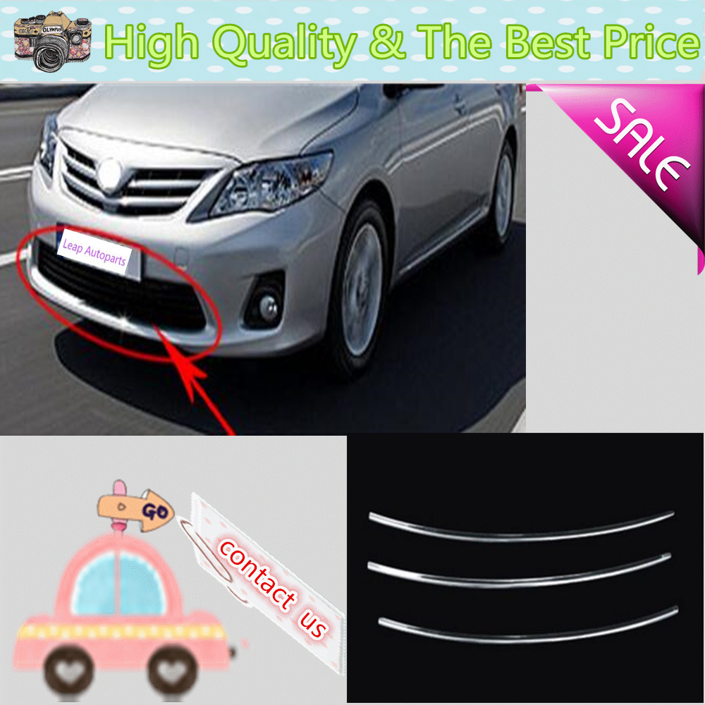 Car body styling stainless steel trim front up grid grill grille around panel lamp 3pcs
