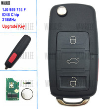 Walklee 1j0959753f atualizar remoto chave terno para vw/volkswagen 1j0 959 753 f 315mhz para besouro/golfe/passat/jetta/coelho