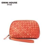 EMINI HOUSE 3 Colors Luxury Sheepskin Hand Woven Knitting Women Clutch Bags Genuine Leather Clutches Women