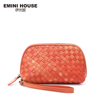 EMINI HOUSE 3 Colors Luxury Sheepskin Hand Woven Knitting Women Clutch Bags Genuine Leather Clutches Women