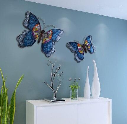 Fer papillon mur décoratif fonds d'écran européen pastorale créative sangle décorative rétro mur méditerranéen décoration murale - 2
