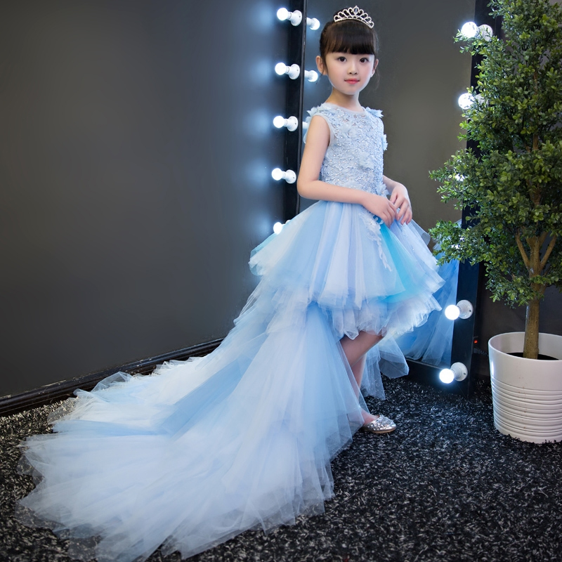 New High Quality Children Girls Blue Princess Lace Party Dress Wedding Birthday Dress With Layers Mesh Tail Kids Costume Dress new high quality children girls red color shoulderless princess dress kids birthday wedding party mesh dress school player dress