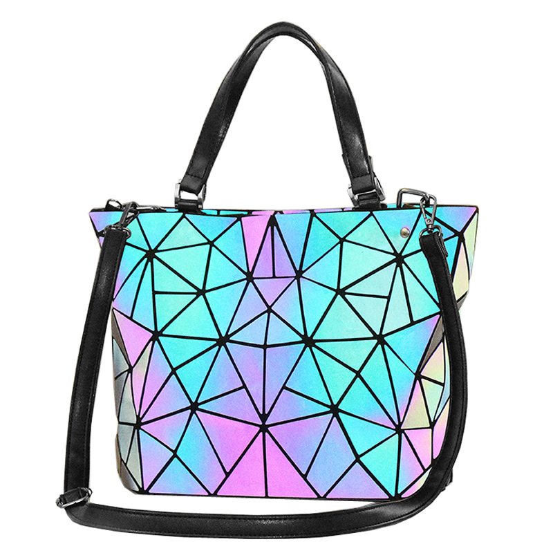 Women Luminous Bag Laser Geometric Bag Sequins Quilted Laser Folding Shoulder Bags Handbag Diamond Casual Tote Bucket Bag bolso