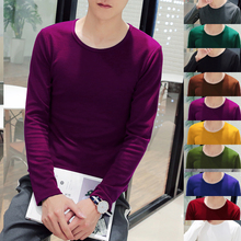Elasticity Mens Long Sleeve T Shirt Multi-Color Select Men Fashion Hot Popular Male Comfortable Casual Size S-2XL 2017 Tops Slim