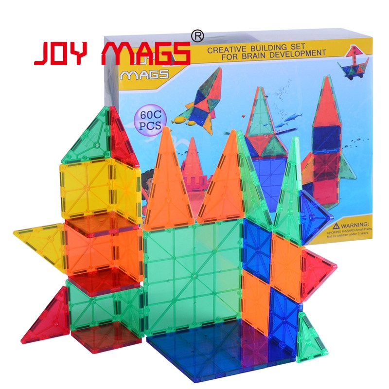 JOY MAGS Magnetic Tiles Designer Construction Kids Educational Toys Creative Bricks Enlighten Magnetic Building Blocks 150pcs joy mags brand magnetic tiles models blocks diy building toys inspire adult