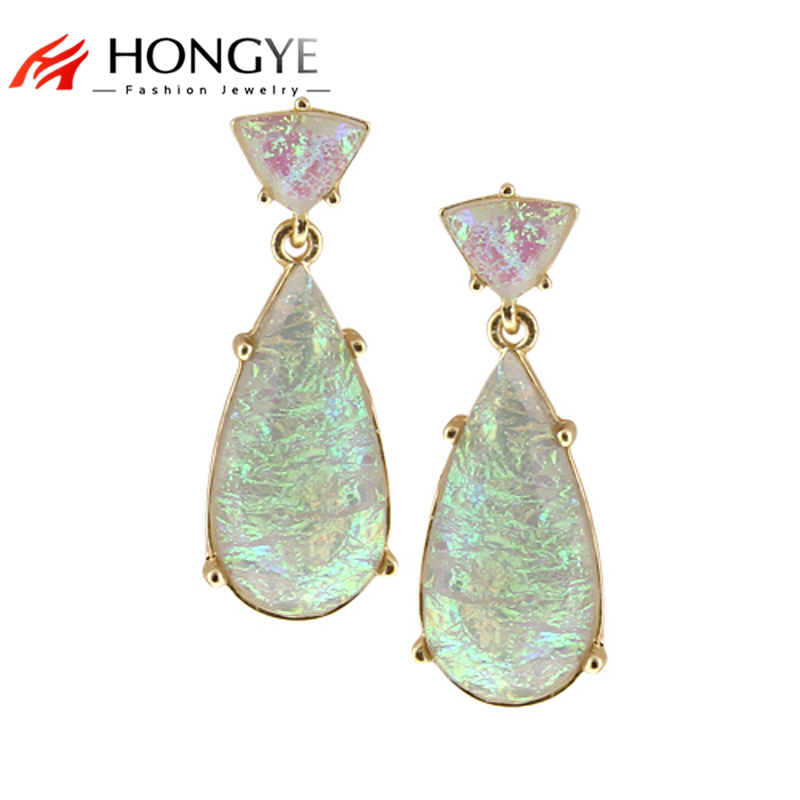 Free Shipping New Arrival Fashion Women Gold-Color Charms Colorful Laser Resin Link Drop Earrings Noble Jewelry