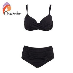 Image 2 - Andzhelika Biquínis Mulheres Swimwear Fold Sólidos Cintura Alta Bikinis Set 2020 Verão Sexy Plus Size Swimwear Maiô Biquini