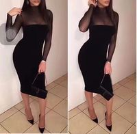 Black And Army Green Color Ladies HL Bandage Dress Long Sleeve Sexy Mesh Bodycon Dress Club
