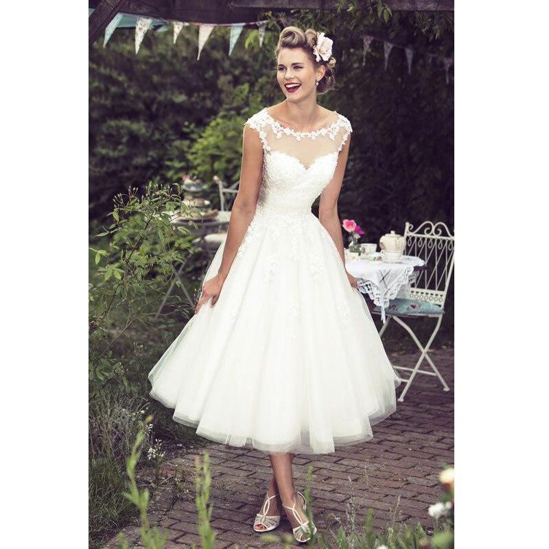 Buy cap sleeve tea length wedding dress for Elegant tea length wedding dresses