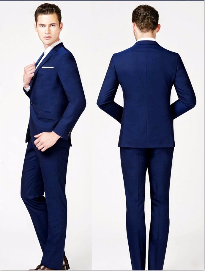 2015 Two Piece Custom Made Generous Classic blue One Button Groom Tuxedos Grooms men Best Man Suit Men\'s Wedding Suits (Jacket+Pants+Tie)