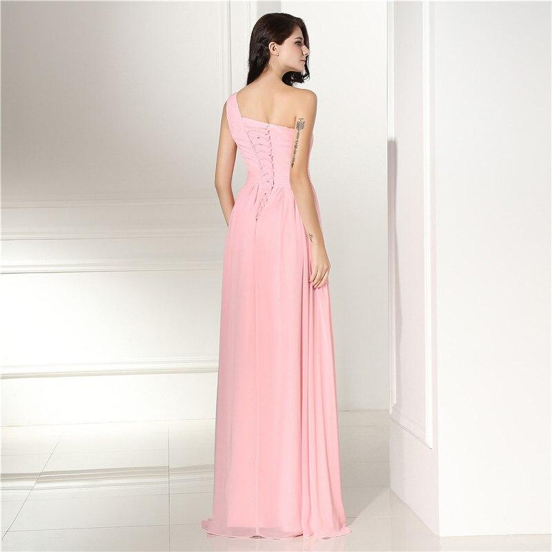 Robes de demoiselle d'honneur rose longue grande taille une épaule en mousseline de soie une ligne sans manches en dentelle perlée longueur de plancher robe de soirée de mariage - 2