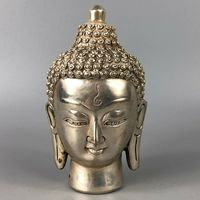 Chinese Antique Rare Collectible Old Tibet Silver Handwork Buddha Head Statue