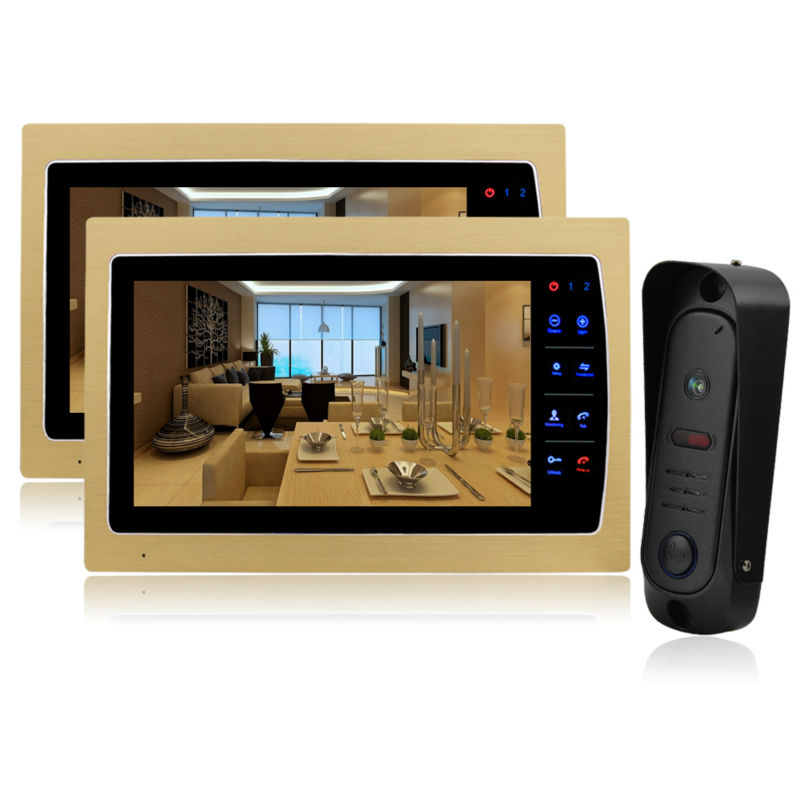 YSECU 10 Дюймов Вилла Проводные Ночь Визуальный Цвет Видео-телефон Двери Дверной Звонок домофон TFT ЖК-Монитор 1200TVL Камеры Handfree