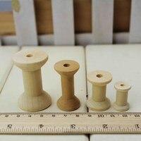 Free Shipping Wholesale 100pcs Mixed Size 2 5cm 3cm 4cm 5cm Natural Color Wooden Bobine Classic