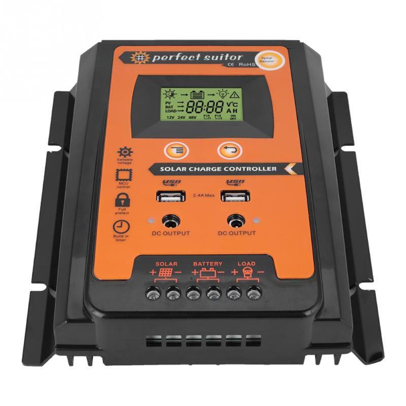Controlador de carga 12 V 24 V 30A 50A 70A MPPT controlador de carga Solar regulador de batería del Panel Solar Dual USB pantalla LCD pantalla