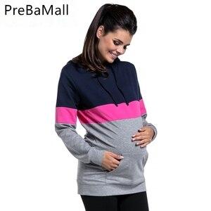 Свитер для беременных, модный свитер для грудного кормления с длинным рукавом, одежда с капюшоном для беременных B0012