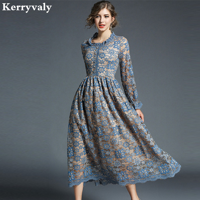 Elegant Maxi Hollow Lace Dress Womens Dresses New Arrival 2018 Spring Shirt Long Evening Party Dress Vestido De Renda Robe K5716