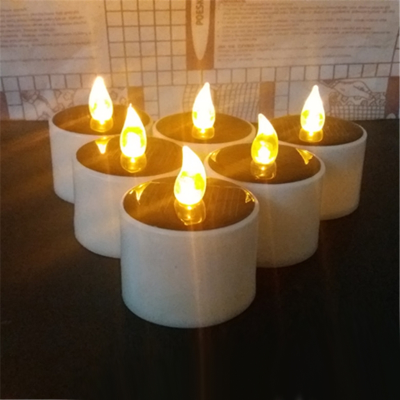 Solar Powered LED Candle Light Yellow Flicker Tea Lamp Festival Wedding Party Home Indoor Romantic Decoration