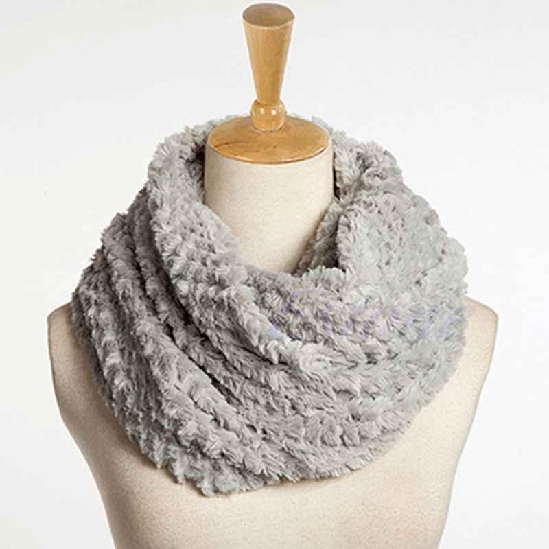 Agradable de las mujeres de piel de imitación infinito círculo Cable cuello invierno pañuelo largo caliente chal de la nave de la gota