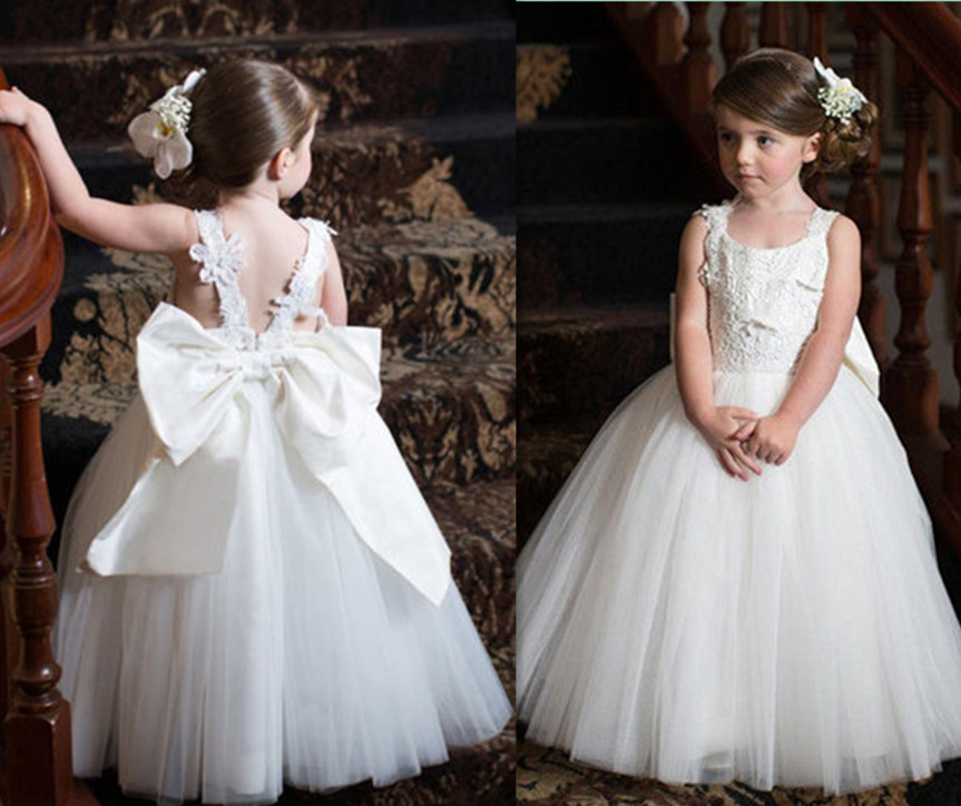 New Princess White Lace Flower Girl Dress for Wedding Ball Gown Tulle Little Girls First Communion Dress Baby Girl Birthday Gown fancy pink little girls dress long flower girl dress kids ball gown with sash first communion dresses for girls