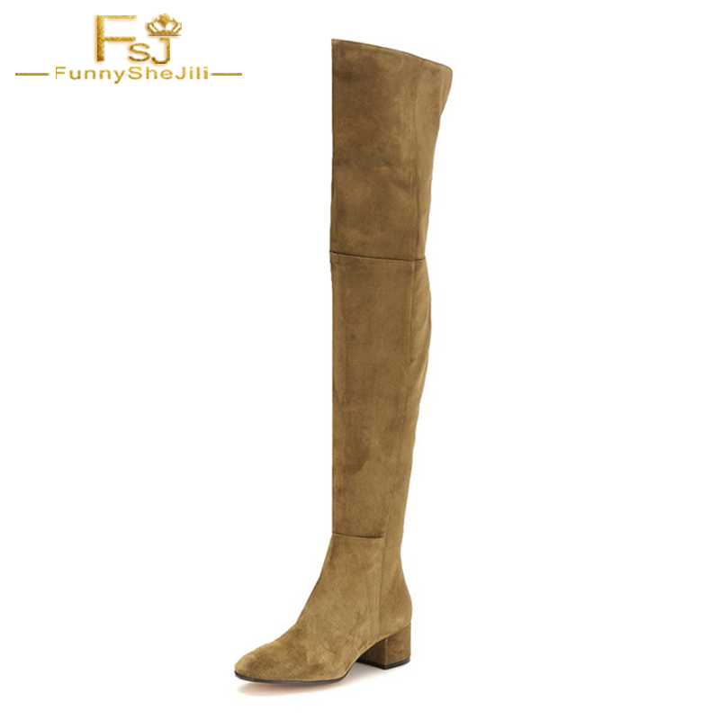 FSJ Long Boots 2018 Women Round Toe Low Heel Over-the-Knee High Dress&Party&Office Shoes With Zipper Woman Peluche Plus Size 16 цена и фото