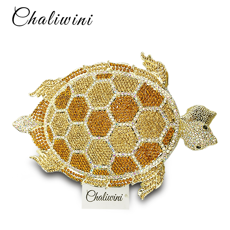 Gold Crystal Tortoise Women Evening Clutches Bags Diamond Shape Ladies Evening Clutches Day Bag Female Wedding Clutch Purses colourful bird women evening luxury bags crystal clutches laides evening bag female party hard case bags wedding clutch purses