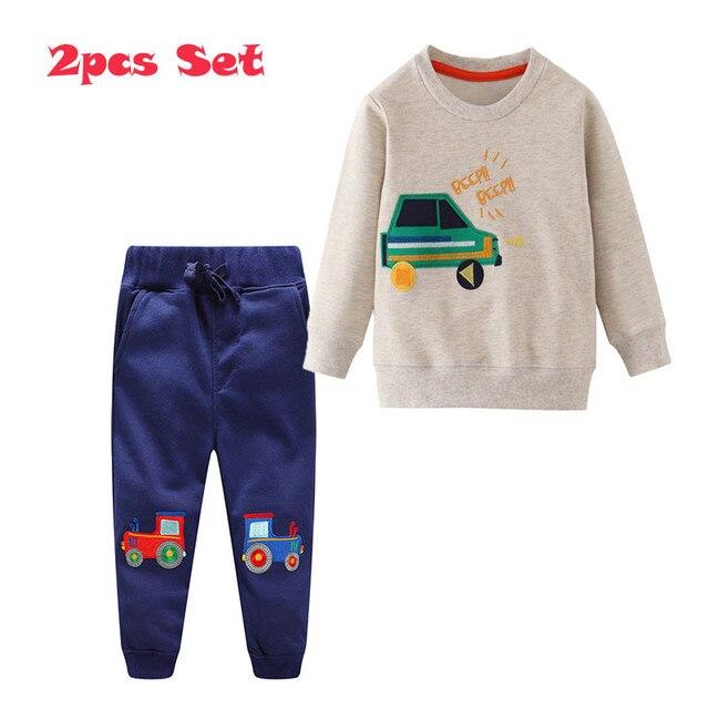 กระโดดเมตร Applique เสื้อผ้าเด็กชุดกางเกงขายาว + เสื้อผ้าฝ้ายรถยนต์ 2 ชิ้นชุดสำหรับฤดูใบไม้ร่วงฤดูหนาวชายชุดสูท