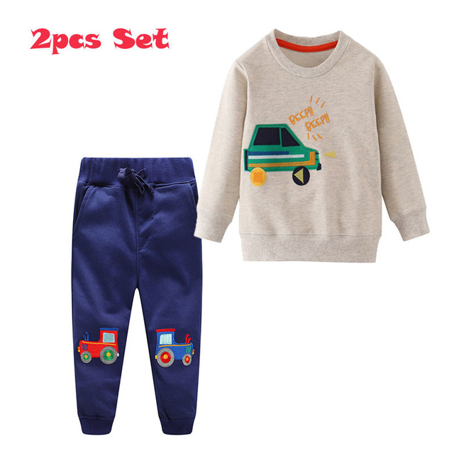 Jumping Meters Applique Baby Clothing Sets Sweatpants + Sweatshirts Cotton Cars 2 pcs Sets For Autumn Winter Boys Outfits Suits