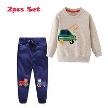 점프 미터 applique 아기 의류 세트 스웨트 + 스웨터 코튼 자동차 2 pcs 가을 겨울 소년 복장 세트