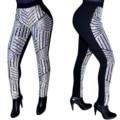 Feiterawn 2017 Chegada Nova Mulheres Sexy Moda Lantejoulas Embutidos Detalhes Calças Skinny Patchwork de Volta Zipper de Fitness Legging OS6016