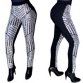 Feiterawn 2017 New Arrival Women Sexy Fashion Fitted Sequins Details Skinny Pants Patchwork Back Zipper Fitness Legging OS6016