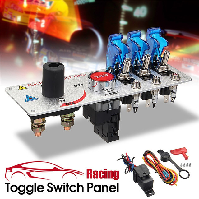 New High Quality Durable Strong Convenient 12V Auto LED Toggle Ignition Switch Panel Racing Car Engine Start Push Set Kit#294386