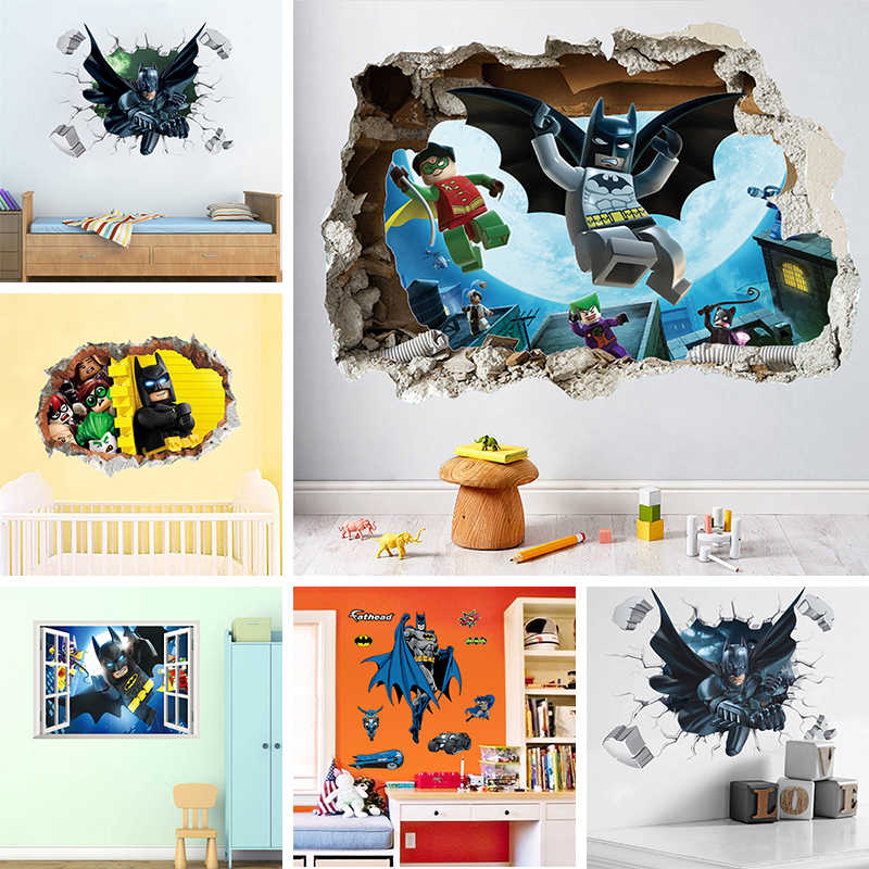 DC Super Man Batman Broken Window Lego Wall Stickers For Kids Room Decoration Movie 3D Mural PVC Cartoon Decorative Decal