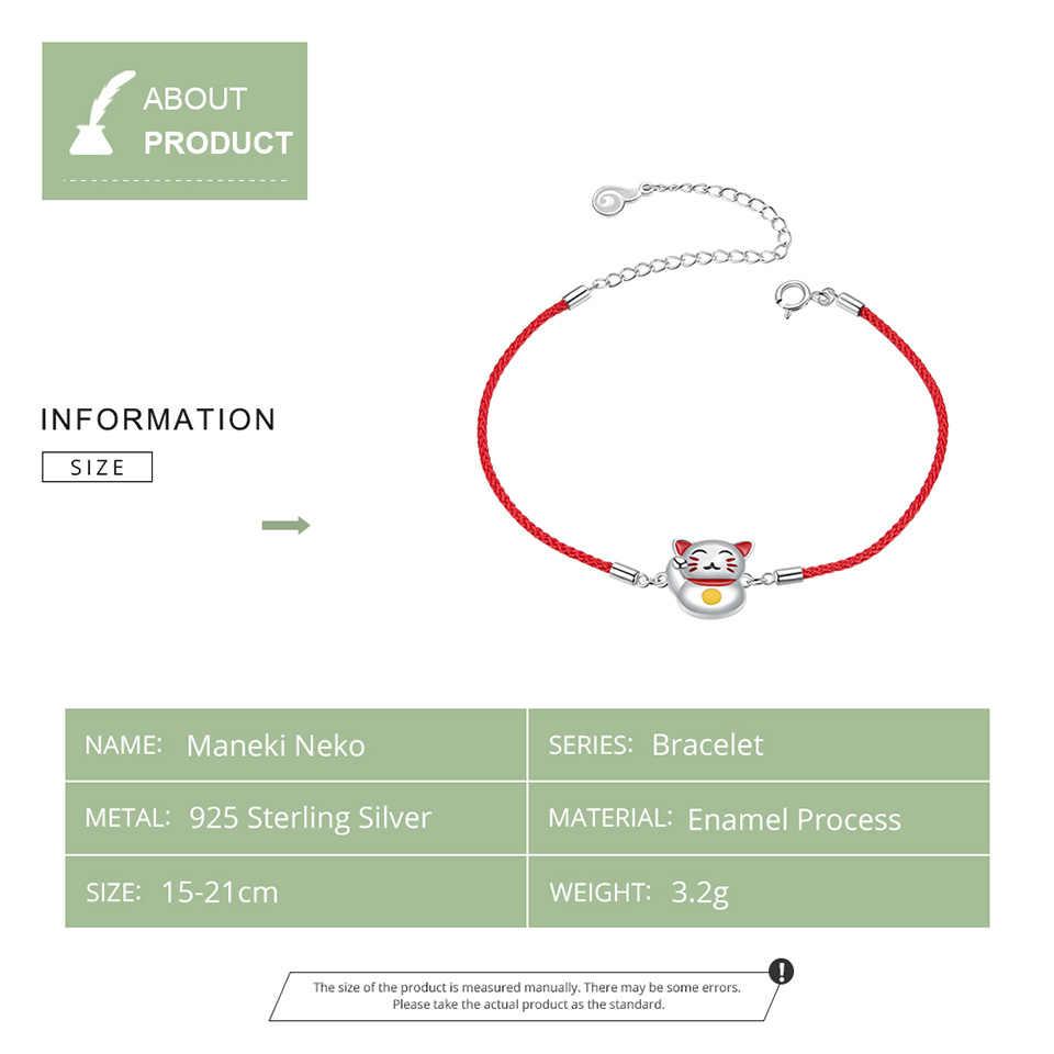 Bamoer ラッキー猫のブレスレットガールアジャスタブル赤文字列ロープ関係ブレスレット 925 スターリングシルバージュエリービジュー BSB012